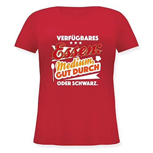 Grill - Verfügbares Essen: Medium, Gut durch oder schwarz - S (44) - Rot - JHK601 - Lockeres Damen-Shirt in großen Größen mit Rundhalsausschnitt -