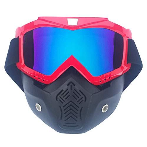 Radbrille Damen Motorradmaskenbrillenpersönlichkeit Retro Halber Sturzhelmgesichtsschutz Offroad Schutzbrillen Männer Und Frauen Ski Fahren Vertical Red Muliticolor Damen Herren