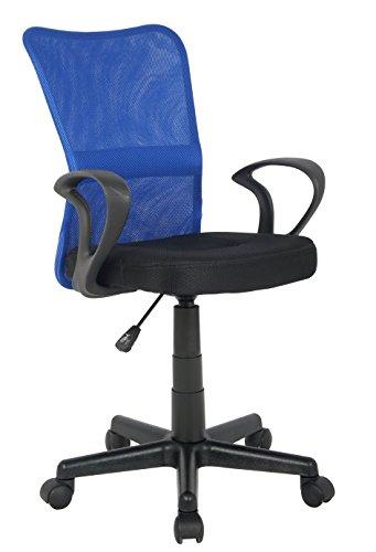 SixBros. Bürostuhl,Schreibtischstuhl zum Drehen,Drehstuhl für\'s Büro oder Home-Office, mit Armlehne,Kinderstuhl aus Stoff, blau/schwarz, H-298F-2/2120