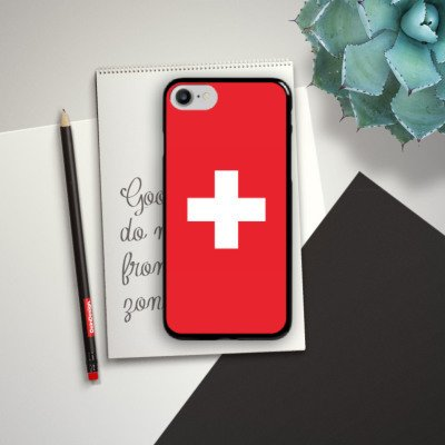 Apple iPhone 6 Silikon Hülle Case Schutzhülle Schweiz Flagge Switzerland Hard Case schwarz
