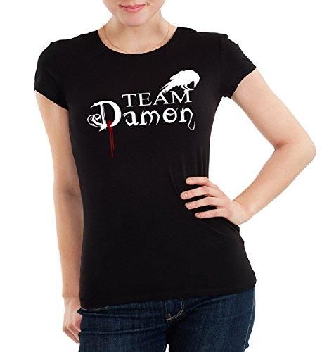 T-shirt pour femme «Team Damon» de Getting Shirty (inspiré par The Vampire Diaries) -  noir - Medium