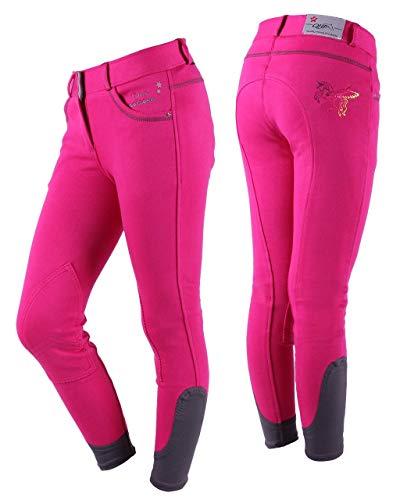 QHP Mädchenreithose Lola Junior Kniebesatz mit Einhorndruck in Regenbogenfarben; verzierte Taschen sowie Text: I am a Unicorn (140, Fuchsia)