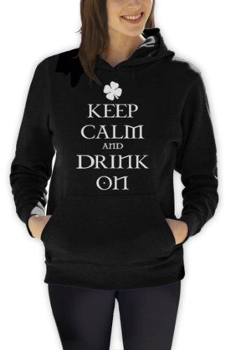 Keep calm and Drink On Frauen Schwarz XX-Large Kapuzenpullover Hoodie -
