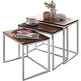 Wohnling Satztisch BIHTA Massivholz/Metall Design Beistelltisch 3er Set | Couchtisch Set aus 3 Tischen | Kleiner Wohnzimmertisch | Metalltisch mit Holzplatte | Wohnzimmer Ablagetisch modern