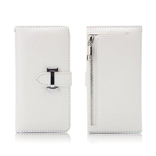 Premium PU-Leder-Magnetverschluss-Muster Schutzhülle-Kasten mit Kartenschlitzen u. Reißverschluss-Beutel u. Abnehmbare rückseitige Abdeckung für iPhone 7 ( Color : Purple ) White