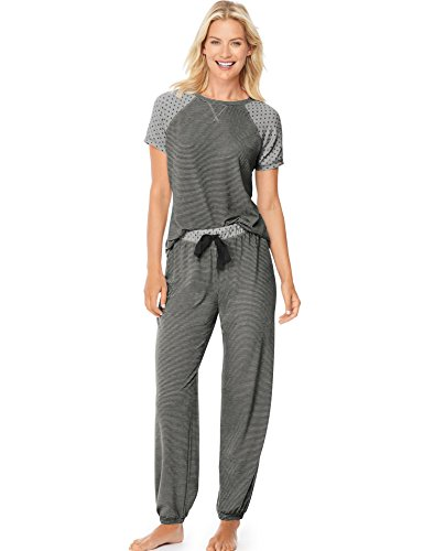 hanes-pijama-manga-corta-para-mujer-light-heather-grey-night-xl