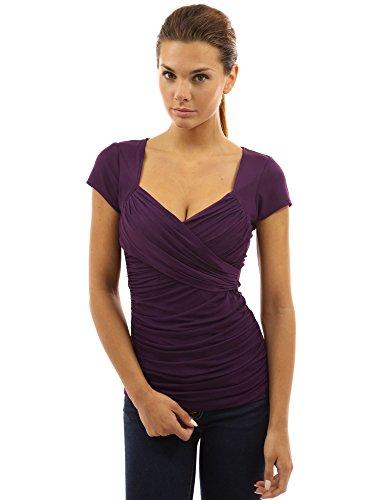 Ärmel Rüschen Bluse (PattyBoutik Damen Bluse V-Ausschnitt mit Rüschen und kurzen Ärmeln (lila 40/M))