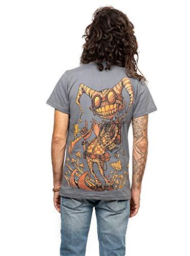 Herren T-Shirt mit Fiddler Psychodelischem Street Art Design Aufdruck - Grau - Medium - handgefertigt durch Siebdruck auf 100% Baumwolle