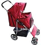 Leopet Hundebuggy | mit Klappfunktion, Becherhalter & Einkaufstasche, mit Regen- und Sonnenschutzverdeck | in Rot | Hundewagen, Pet Stroller, Hundetransport