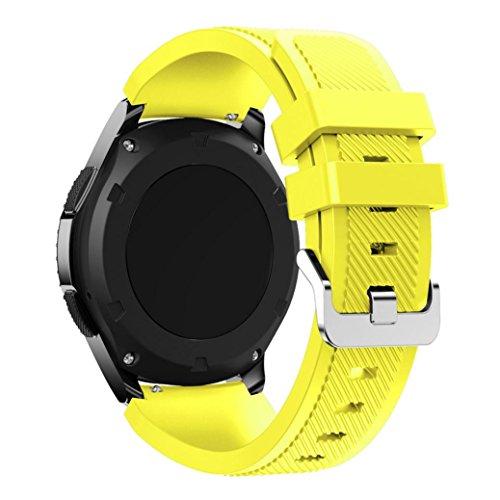 Der Silikonriemen Kompatibel für Samsung Gear S3 Frontier,Kaiki Neue Art- und Weisesport-Silikon-Armband-Bügel-Band für Samsung Gear S3 Frontier (Yellow)