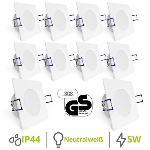 linovum® WEEVO 10x Einbauspots LED eckig extra flach IP44 für Bad Außen - 10er Set Spots 230V weiß 5W 4000K Einbautiefe 29mm