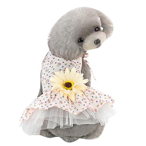 Makalon Hund Sommer Mode Freizeit Baumwolle Atmungsaktiv Sonnenblumen Schlinge Rock Hunde Kostüme Hunde Kleid Katze Frühling Süß Ärmellos Blumen Drucken Kleidung Shirt für ()