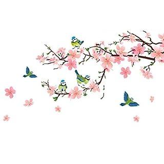 NANIH Home Wandaufkleber Wandbild Kunst Dekor Abnehmbare Wasserdichte China Wind Selbstklebende Art Deco romantische Schlafzimmer Bett Wohnzimmer TV Aufkleber Pfirsichblüte Vogel