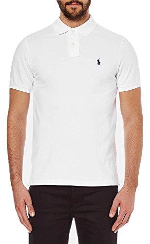 Polo-pony-shirt (Ralph Lauren - Herren Polo shirt - Custom Slim fit - Weiß - L)