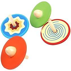 4pcs Trompos Peonzas Redondas de Madera de Color Multicolores para Bebé Juguete