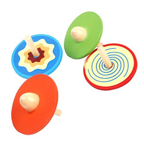 4pcs Petites Toupies en Bois Jouet Traditionnel pour Enfant