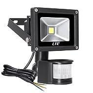 LTE 10W Projecteur LED Détecteur de mouvement Éclairage de sécurité Applique mural extérieure Imperméable IP65 6000K Blanc du Jour pour Jardin, Patio, Terrasse, Cour, Maison, Allée, Escalier Extérieur