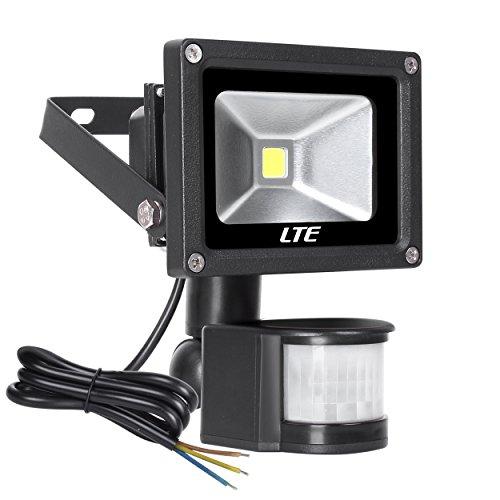 LTE 10W LED Strahler mit Bewegungsmelder außen Fluter Scheinwerfer Licht Wandstrahler Schwarz Aluminium IP65 Wasserdicht AC 85 - 265V Tageslichtweiß (Led-parkplatz-beleuchtung)