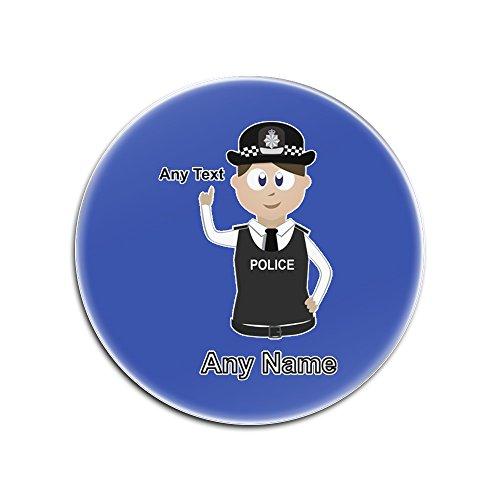 UniGift Personalisiertes Geschenk - (Chef) Superintendent Untersetzer (Police Design, Farboptionen) - Einzigartiges Matte Pad Super Supt SP CS - Braun/Braunes Haar Polizistin Hut Cap, blau, Rund