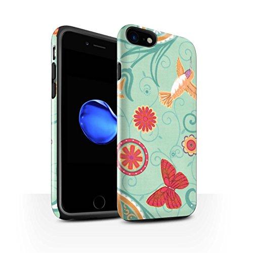 STUFF4 Glanz Harten Stoßfest Hülle / Case für Apple iPhone 8 / Grün/Rot Muster / Frühlingszeit Kollektion Grün/Rot