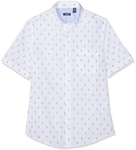 Izod Herren Anker Print BD SS Shirt Freizeithemd Weiß (Bright White 116) Large (Herstellergröße: LG) - Izod-baumwolle Polo-shirt