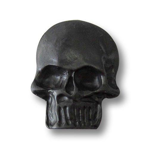 Set große plastische schwarze Ösen Metallknöpfe wie authentischer Totenkopf / Schwarz / Motivknöpfe / Ø ca. 23x30mm ()
