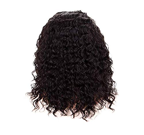 GreatFun 16 Zoll Perücken Frauen lockige Perücken schwarz synthetische Welle Perücke Menschenhaar Lace Front Perücke lockige brasilianische Remy Haar Perücke 130% High Density für Frauen