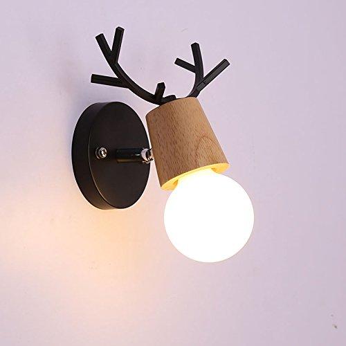 Nclon Nordeuropa Moderne Einfache Élégant Wandleuchte,Salon Dekorative wandlampe Wohnzimmer Innen E27 Lampenfassung Ohne glühlampe 13 * 19cm-A-Massivholz - Schwarz (Glühlampe Appliance Lampe)