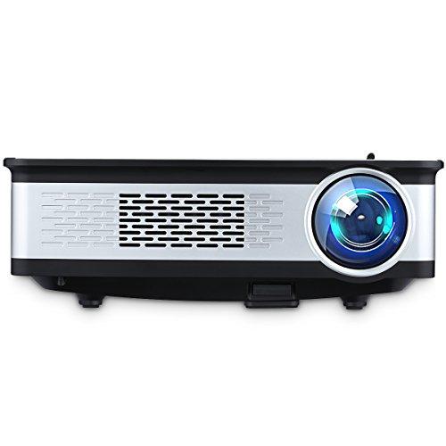 Excelvan Z720 - Proyector LED 1080P(3300 Lúmenes,128 x 768,Proyeccion 30'-145',Intefaz HDMI, VGA, USB, AV, SD, Soporta Computadora Portátil, Móvil, Tableta, Udisk, Cámara Digital, Consola de Juegos)