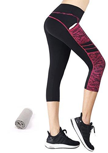 Munvot Tailored Geschenke Tummy Control Yoga Pants Sport Leggings Hohe Taille Fitnesshose Blickdichte Leggings Sporthose Strech Sweathose Schwarze Rose 3/4( Mit Seitentaschen) L