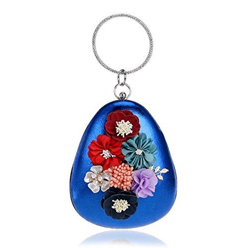 Flada Frauen und Mädchen Blume Beaded Abend Clutch Bag Polyester Armband Handtasche Portemonnaie blau (Purse Hochzeits-abend-clutch)