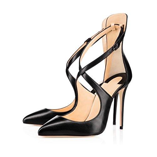 EDEFS - Scarpe con Tacco Donna - con Cinturino Alla Caviglia - Alto - Grande Taglia Scarpe Nero