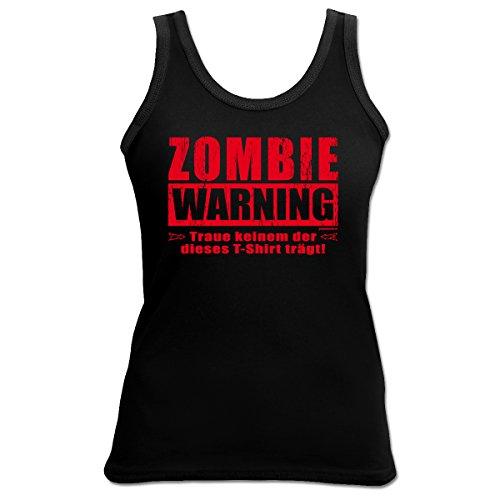 Halloween Zombie Warning 4 Girls Beach Tanktop Geschenk geil bedruckt Goodman Design ()