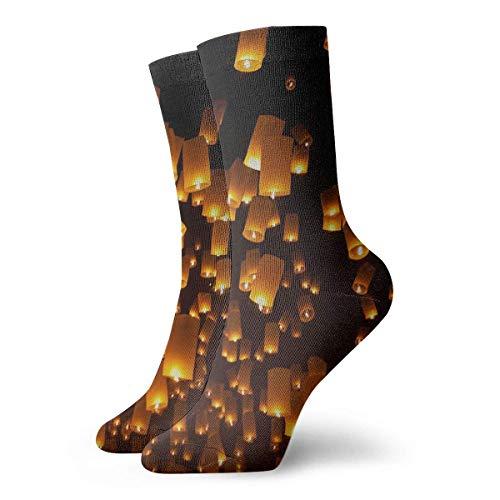 Xdevrbk Orange Sky Lanterns Casual Crew Socks,Thin Socks Short Ankle for Outdoor,Running,Athletic,Travel