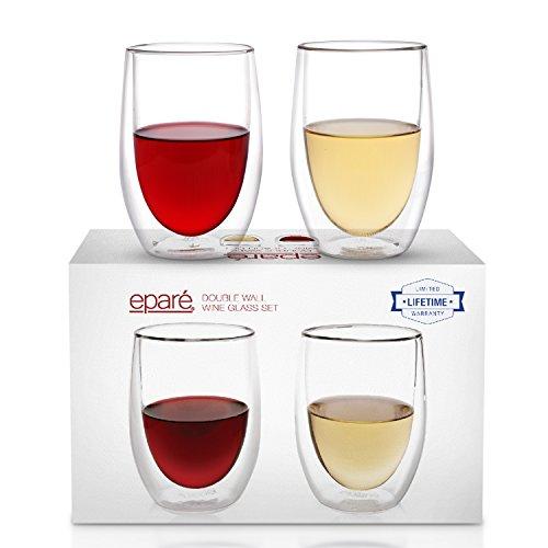 Eparé Weingläser, Isoliertes stiellose Tumbler Set (390 ml) - Doppelwandiges Trinkglas ohne Stiel- Becher für Rot, Weiß, Rosé, Champagner, Cocktails, Saft oder Wasser - 2 Gläser Rote Rose Becher