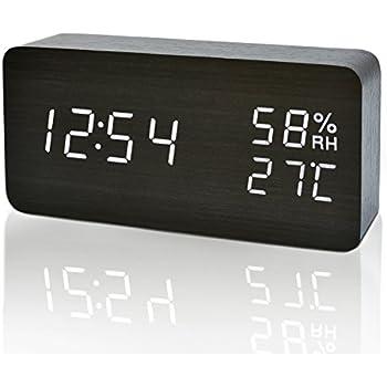 FIBISONIC Digital Wecker Mit Geruschaktivierung Temperaturanzeige Einstellbare Helligkeit Datumsanzeige Schwarz