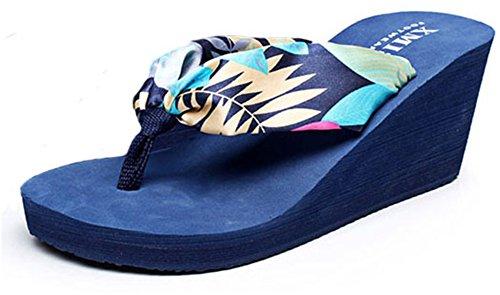 Good Night Modo della Boemia di stile di Zeppa Infradito sandali da spiaggia per le donne Blu scuro