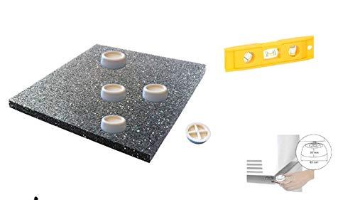 Waschmaschinenzubehör/Schwingungsdämpfende Unterlagen aus Gummi/Vibrationsdämpfer/4 Stück + Antbirationsmatte für Waschmaschine oder Trockner, Antirutschmatte - 60x60x1,0 cm + Wasserwaage
