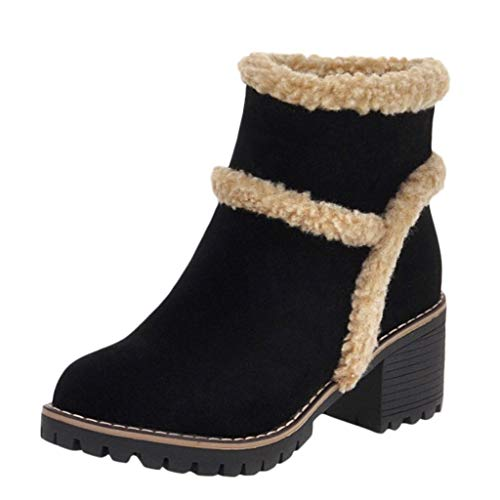 MOTOCO Women Winter Snow Boots Round Toe Suede Chunky mid Heel Faux Fur Warm Ankle Booties