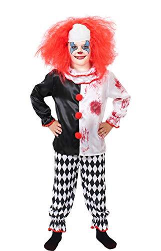 ILOVEFANCYDRESS Kinder Horror Clown KOSTÜM Verkleidung = Halloween=Das KOSTÜM IST ERHALTBAR MIT ODER OHNE ZUBEHÖR = Fasching Karneval = Grusel = PERRÜCKE+KOSTÜM/SMALL