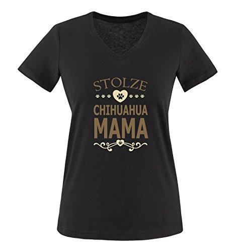 Comedy Shirts - Stolze Chihuahua Mama - Herz - Damen V-Neck T-Shirt - Schwarz/Hellbraun-Beige Gr. L