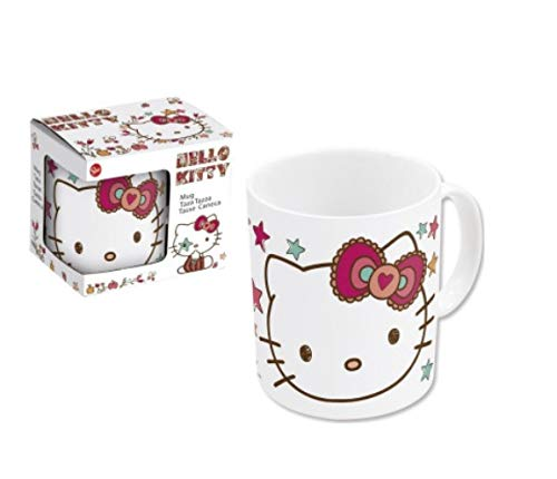 Hello Kitty Kinder Tasse Trinkbecher mit Henkel Becher 250 ml Keramik Weiss