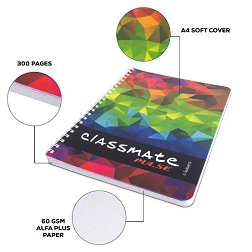 Classmate Soft Cover 6 Subject Spiral Binding Pocket book, Single Line, 300 Pages Image 6