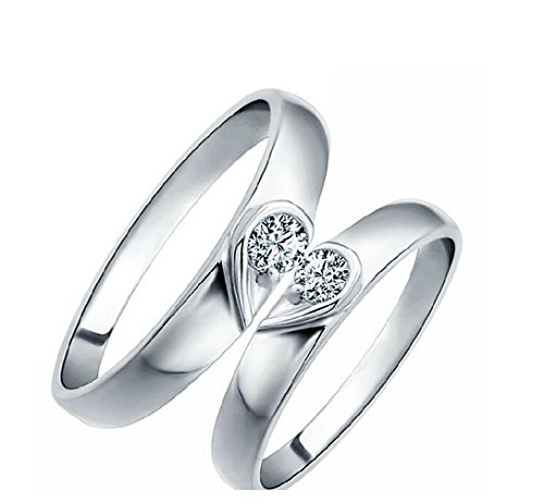 Girlz! Platinum Plated Double Heart Forever Couple Rings For Men & Women