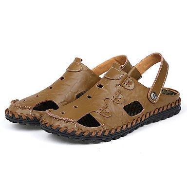 Herren Sandalen Sommer Comfort Light Sohle Leder Outdoor Casual flachem Absatz Khaki Camel schwarz Wasser Schuhe Khaki
