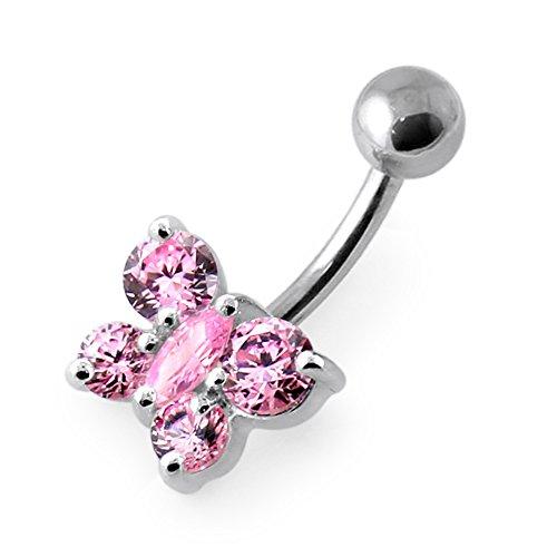 Pierre papillon tendance Design 925 Sterling Silver ventre bar Pink