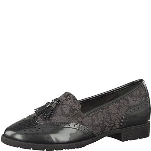 936ec4bf53ac Jana Soft Line 24260 Aylesbury Modern Wide Fit Wingtip Brogue Style Loafer  in Grey Patent 37