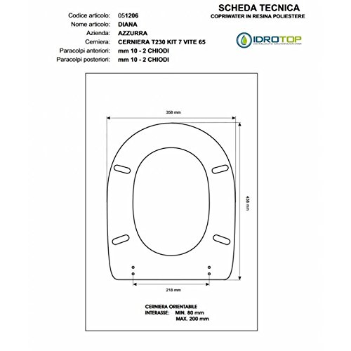 WC elios-diana-frine weiß Reißverschluss Absenkautomatik Soft Close cromo-azzurra