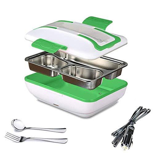 Lunch Box Tragbare elektrische Heizung Lunch Warmer Box mit herausnehmbarem Edelstahl-Behälter-Warmwasserbereiter und Auto-Ladegerät Grün 9,5 * 6,7 * 4 Zoll