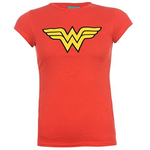 DC Comics Wonderwoman donna rosso carattere t-shirt top maglietta, UK 18 (XXLarge)
